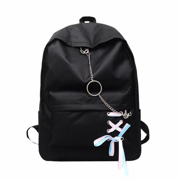 Student Bag Female New Korean Hip-Hop Backpacks with Chains Harajuku Canvas School Backpack for Teenage Girls Mochila Escolar