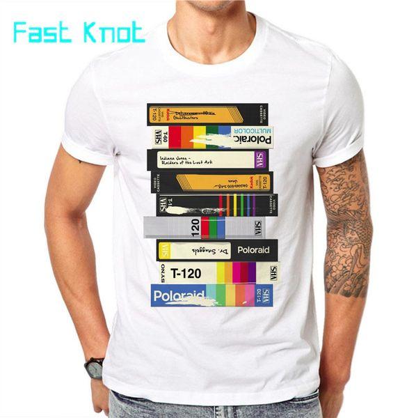 100% algodão Men cassete áudio 3D Impresso camisetas Moda manga curta Tops Casual Retro T-shirt T branco Summer Fashion