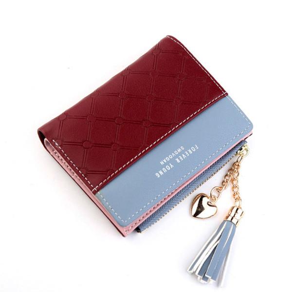 Mulheres Carteira Feminina Parágrafo Curto Coin Purse Color Carteira Mulheres Pequenas Dobrar Carteiras Borla Zipper Botão Bag Titular Do Cartão De Crédito