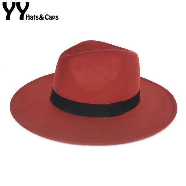 Laine orange élégant chapeau de Fedora pour Femme Automne Vintage Trilby Caps large Brim Jazz Eglise Panama Hommes Felt Bowler Hats YY18111 Y200110