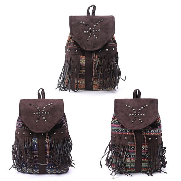 Women Vintage Rivet Three Uses Multifunction Bag Travel Leather Casual Backpack