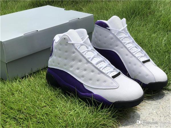 Nova Liberação Authentic Air 13 Lakers Rivais Mens Tênis De Basquete Branco Roxo Camurça Esportes Tênis 91 Jordan Com Caixa Original 414571-105