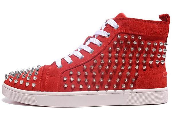 Tasarımcı ayakkabı Spike Kırmızı dip Spor ayakkabılar botlar deri ayakkabı genç buzağı rahat mokasen ayakkabı Süet lüks erkekler kadınlar boyutu 36-48 a2