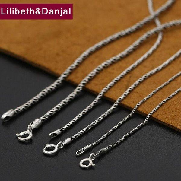 Collana con nome iniziale spesso 1mm e 2mm 100% argento sterling 925 catena di corda intrecciata modelli selvaggi collana pendente gioielli 2019 N19
