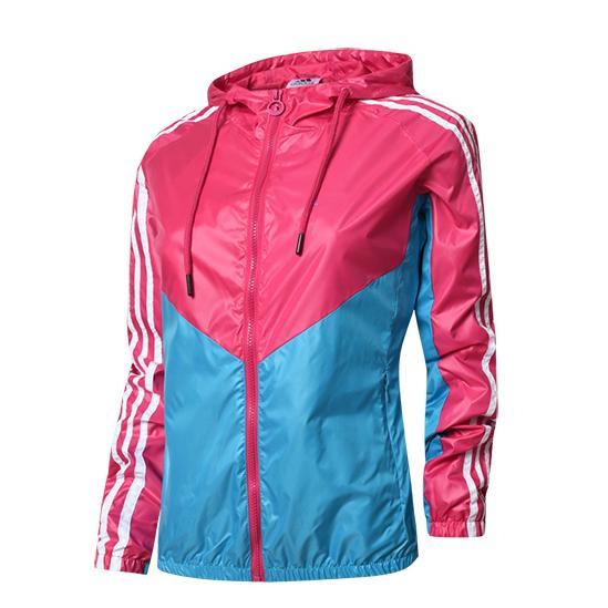 Designer Für Frauen Jacken Windjacke Sport Mantel Reißverschluss Oberbekleidung Frauen Patchwork Brief Drucken 4 Farben M -2xl