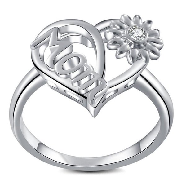 2019 High Quality Heart Sunflower Vintage Love Mom Ring Jewelry For Birthday Mother's Day Luxury Jewelry Gift