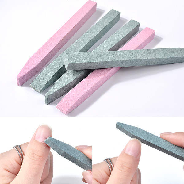1 Pcs Pink And Green Unique Stone Nail File For Cuticle Removal Scrub Stick Grinding Rod Trimmer Buffer Manicure Nail Art Tools