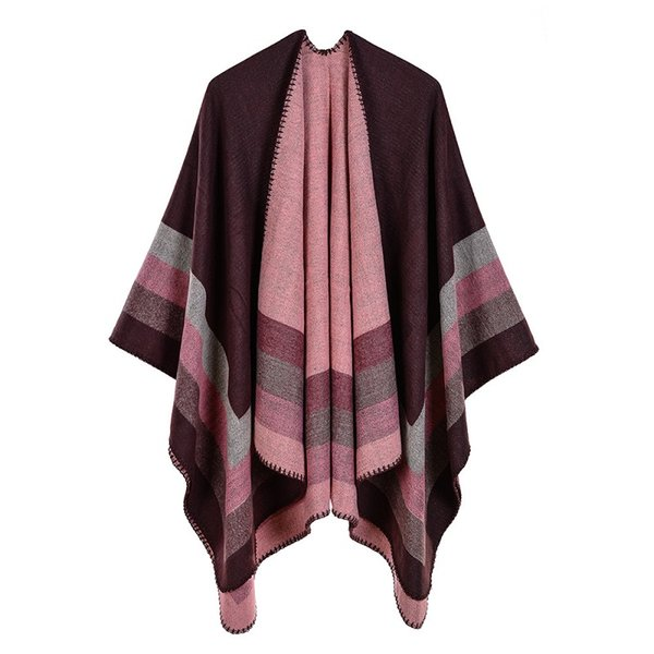2018 New Women's Winter Scarf Women's Cashmere Ponchos and Capes Fashion Design Pashmina Ladies Knit Shawl Cape Vintage Blanket