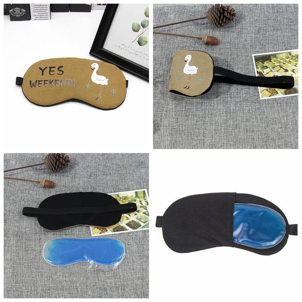 Hombres Mujeres Ojos portátiles blandos Sombreado Reducir la presión Máscara Impresión personalizada Dibujos animados Flamingo Sleeping Eye Mask con bolsa de hielo BH1060 TQQ