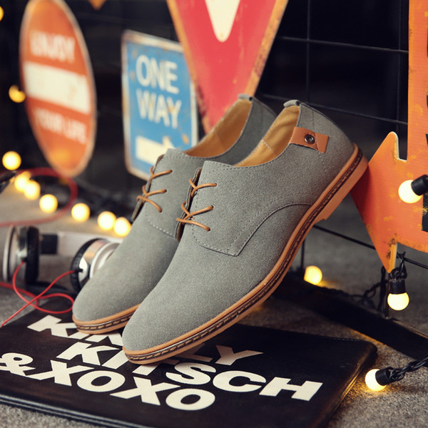 Men'S Casual Shoes Scrub Artificial Leather Solid Oxfords Shoes Man Lace-Up Asakuchi Breathable Rubber Flat Heel Size 48