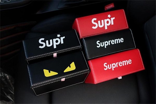 5 Style Popular Logo Tissue Boxes Famous Logo Leather Texture Of Paper Towel Box Car Tissue Box For Free Shipping