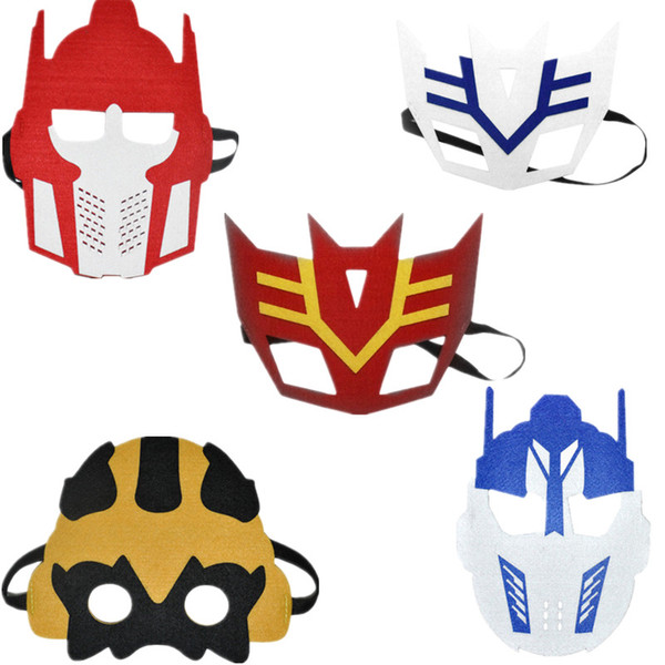 5pcs Kids Transformer Themed Cartoon Felt Masks Kids Children Birthday Party School Cosplay Game Decorations Dress up Costume M