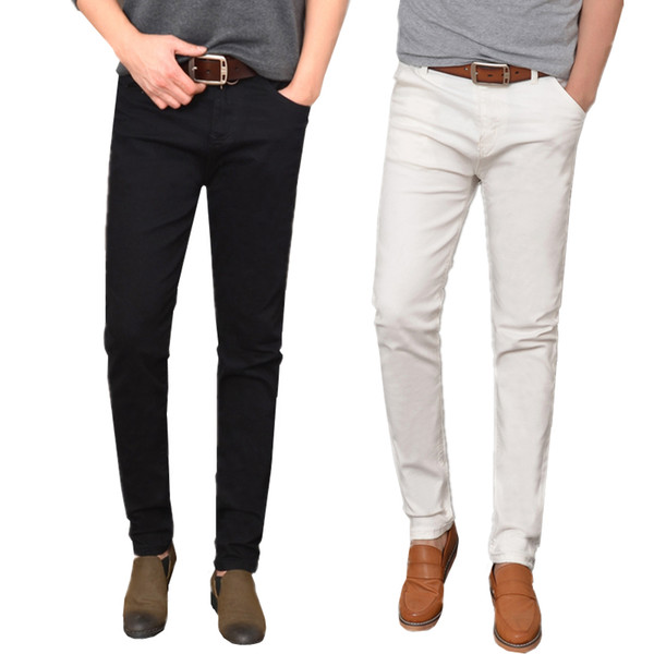 Small Stretch White Jeans Men Teen Fashion Casual mens Trousers Slim Elegant Black Men Jeans 155#