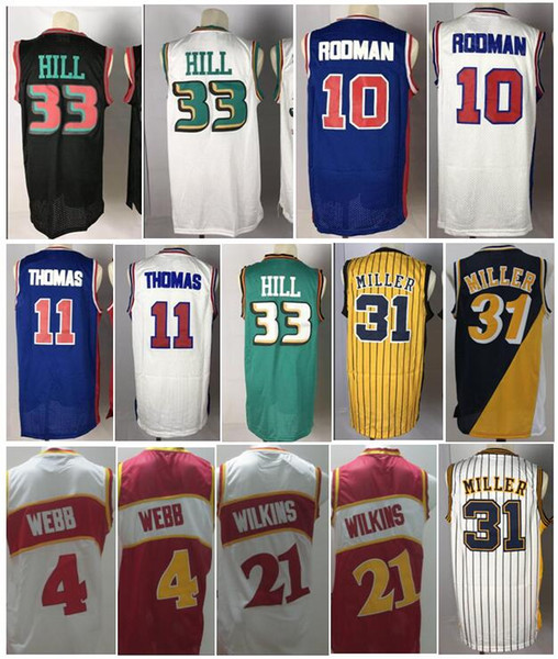 top popular Top Quality #33 Grant Hill Jerseys Stitched Grant Hill Shirts Dennis #10 Rodman Jersey 31# Reggie Miller Spud #4 Webb Dominique #21 Wilkins 2019