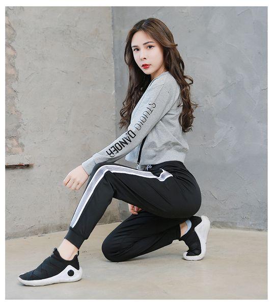 Модные женские брюки стретч-бег с принтом в полоску буквы Женские свободные удобные йоги спортивные фитнес леггинсы