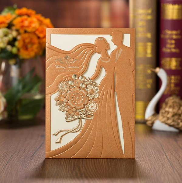 Gold Elegent Laser Cut Bronzing Wedding Invitation Cards Hollow Favors Invitations Cardstock Engagement Birthday Graduation Baby Shower