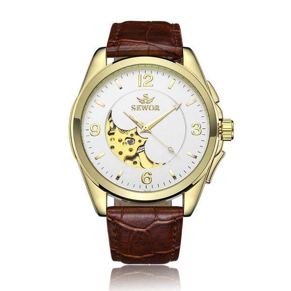 1 Pcs Oco Gravura Esqueleto Ocasional Designer Preto Dourado Caso Engrenagem Moldura Relógios Relogio masculino Relógios Automáticos