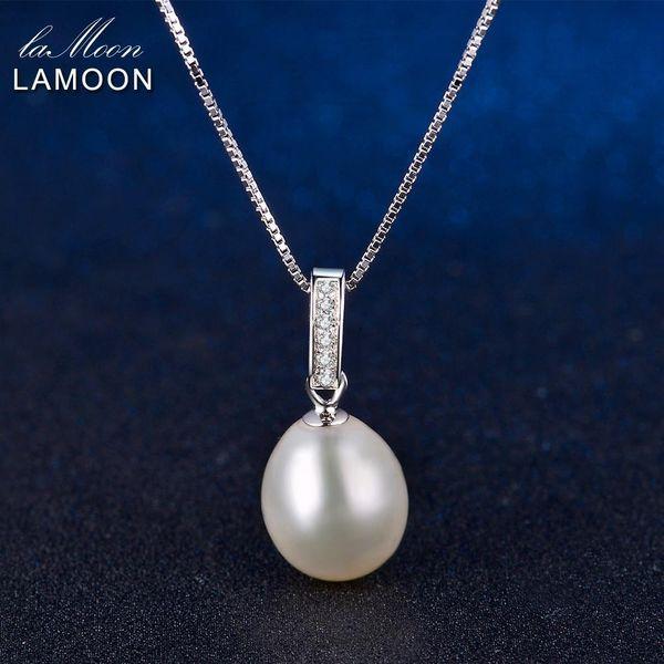 Lamoon İnci Kolye 925 Gümüş Kolye kolye 18K Beyaz Altın Kaplama Güzel Takı Hediye İçin Kadınlar LMNI008