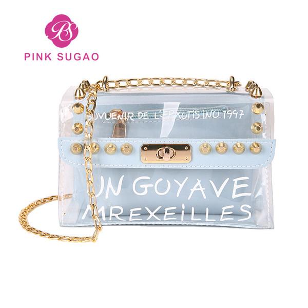 Borse di design rosa sugao trasparente sacchetto di gelatina designer di lusso borse a tracolla di lusso designer di marca trasparente borsa ragazza catena borsa per la scuola