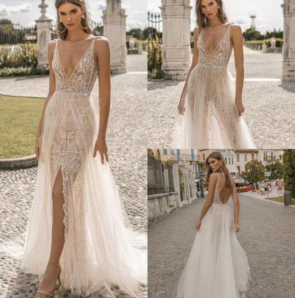 Berta Privée 2019 Novos Vestidos De Noiva Sereia Mergulhando Pescoço Backless Lace Vestidos De Noiva Ver Através Boho Fenda Vestido De Noiva Simples Modesto