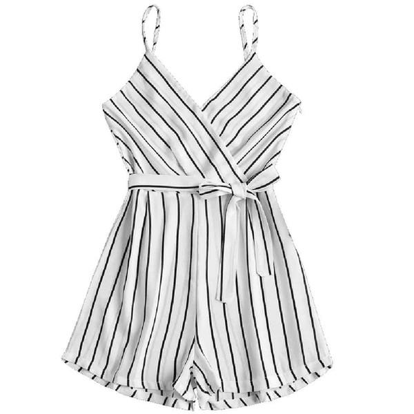 JAYCOSIN XL traje de tiras de las mujeres sin mangas de tirantes Trajes cortos Cami cinturón de rayas mameluco pantalones mono con correas z0110