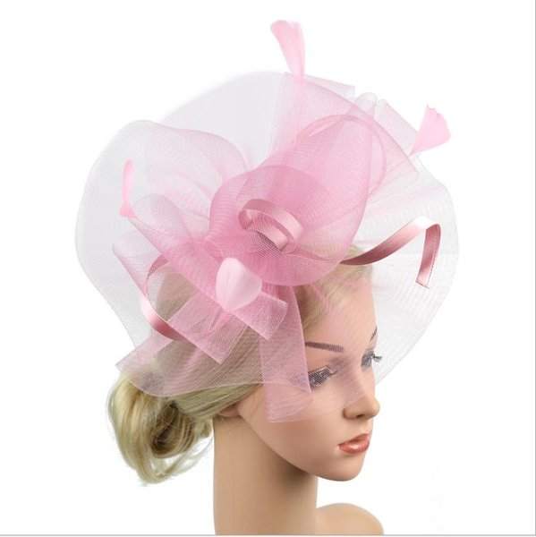Personality exaggeration party hat bride net gauze headdress feather hairpin double use European and American hairdress