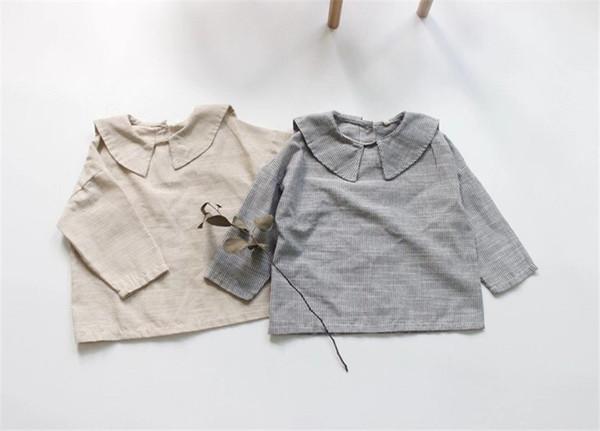 Dessins Lin Coton Qualité Enfants Filles Blouses Col Rabattu À Manches Longues Rayures Ceinture Petites Filles Tops T-shirts Chemises