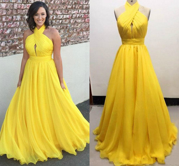 Sexy Open Back Yellow Chiffon Prom Party Dresses Floor Length Halter Red Carpet Celebrity Gowns Long Arabic Formal Evening Dress Real Photos
