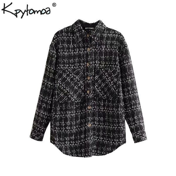 vintage stylish pockets plaid tweed jacket coat women 2019 fashion lapel collar long sleeve ladies outerwear chic  chaqueta