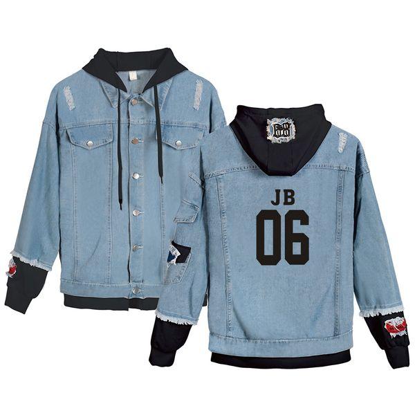 Alta qualità Boy's GOT7 Denim Jeans Cool Jacket Uomo / Donna Cappotti Moda Casual Harajuku Jeans Jacket GOT7 Abbigliamento Usura