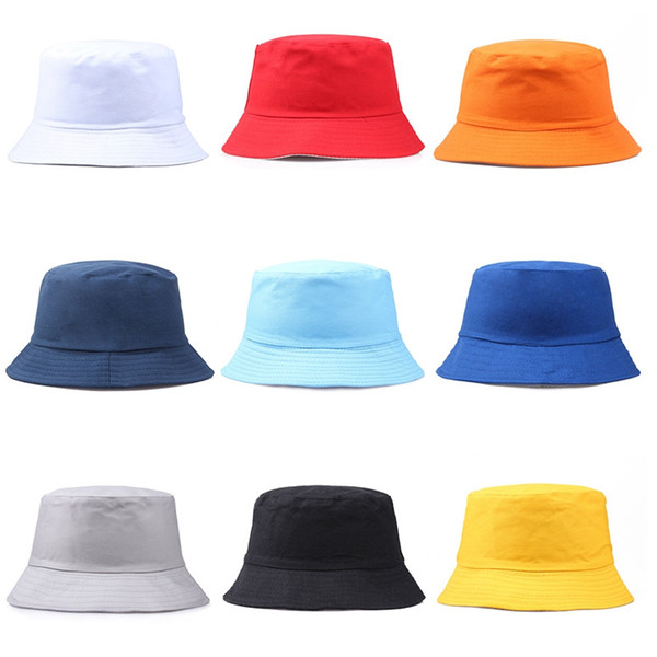 top popular Travel Fisherman Leisure Bucket Hats Solid Color Fashion Men Women Flat Top Wide Brim Summer Cap For Outdoor Sports Visor dc281 2019