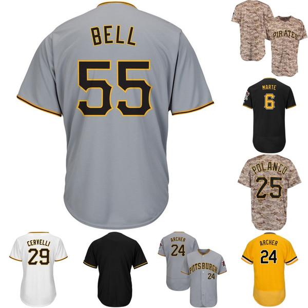 Mens Pittsburgh 6 Starling Marte 24 Barry Títulos 21 Roberto Clemente 29 Francisco Cervelli 55 Josh Bell 50 Jameson Taillon Camisas De Beisebol