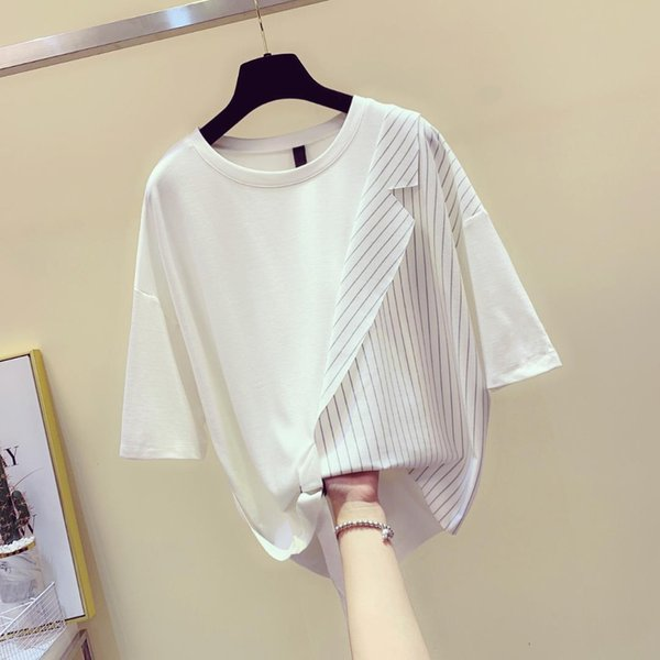 New Korean Tshirt Woman 2019 Summer Loose-fitting Short Sleeve T-shirt Lady's Fashion Stripe Colour-clashing Personality Shirt