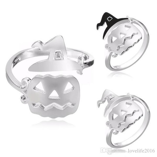2019 Halloween Jewelry Silver Plated Big Pumpkin Band Rings Women Fashion Ring Adjustable Fine Jewelry Perfect Gift A232