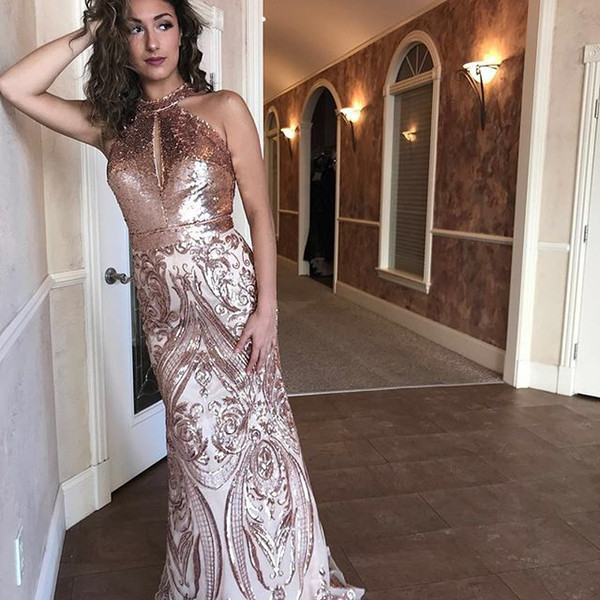 2019 Plus Size Sequined Prom Dress Mermaid Long Sleeveless Arabic Dubai Formal Evening Dresses Myriam Fares Special Occasion Party Gowns