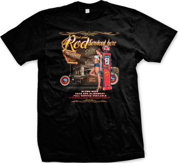 Get Your Rod Serviced Here Hotrod Classic Car Auto Racing Mens T-shirt