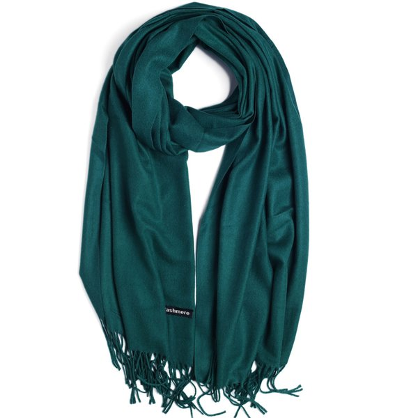 Fashion Cashmere Scarf Shawl Solid Autumn Winter Wrap Warm High Quality Soft Hijab Thick Women Pashmina Wool Luxury Green