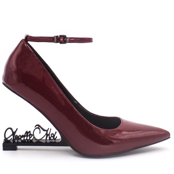 Vin Rouge En Cuir Verni De Mode Designer De Luxe Femmes Chaussures 10 CM Talons Compensés Chaussures De Mariage De Mariée Talons De Mariage Chaussures Mariée Bout Pointu