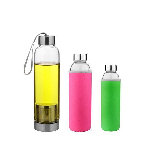 Hot 550ml Tea Infuser Cups Travel drinkware Portable glass bottle for water tea glass drinking bottle