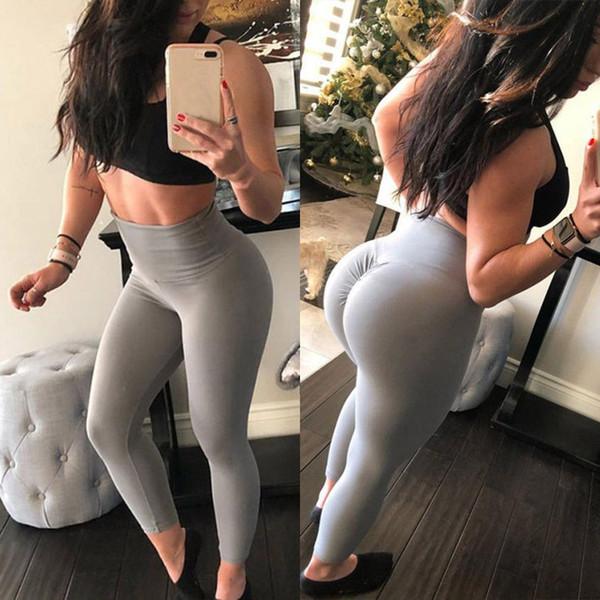 Sexy Mulheres Plissadas Finas Alta Elastic Leggings de Fitness Calças de Yoga de Energia Controle Da Barriga Sem Costura Esportes Execução Ginásio Calças Justas # 890254
