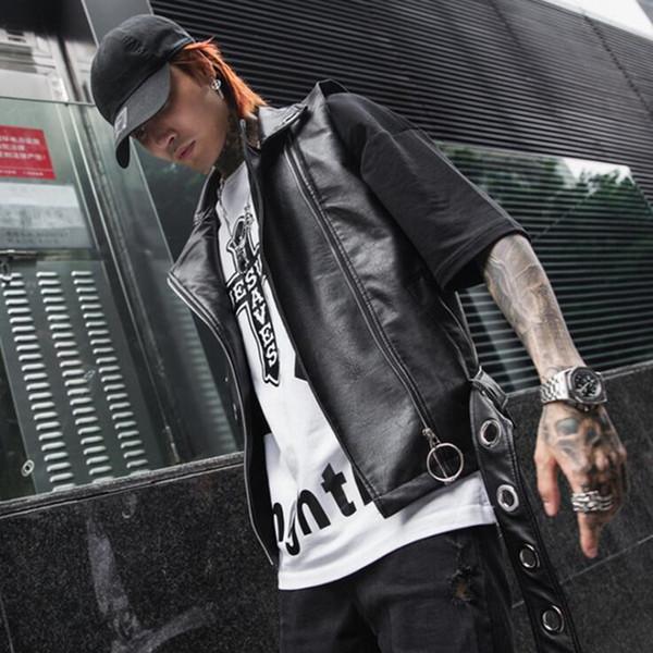 Acheter Hommes Printemps Été Punk Rock Hip Hop Gilet En Cuir Faux Cuir Veste Sans Manche Discothèque DJ Chanteur Costume De Scène Moto De $46.96 Du