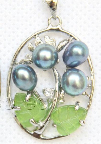 necklace Free shipping ++++2pcs black leaves pearls green jade necklace pendant 18KGP W1252A12E4