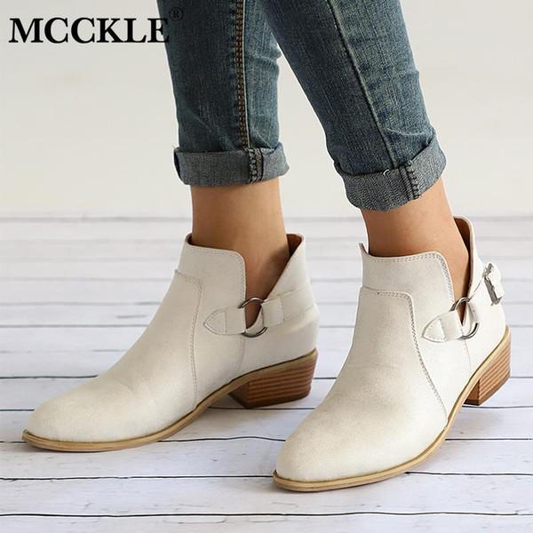 MCCKLE Outono Feminino Botas de Tornozelo Mulheres Sapatos de Salto Baixo Fivela Tamancos Saltos Plus Size Deslizamento Ocasional Em Bota Curta oncise Calçado