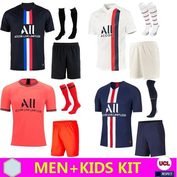 best selling Men+Kids 2019 20 PSG maillots de foot MBAPPE soccer jersey CAVANI KITS 2019 2020 fourth football shirt ICARDI Camiseta de futbol SET
