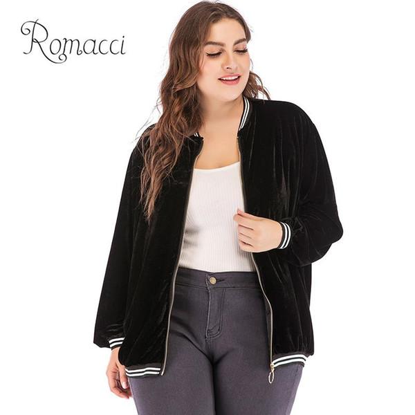 Romacci Donna Plus Size Bomber Jacket XXXL 4XL Velvet Contrast Stripes Zipper manica lunga cappotto donna Allentato Casual Capispalla 2018