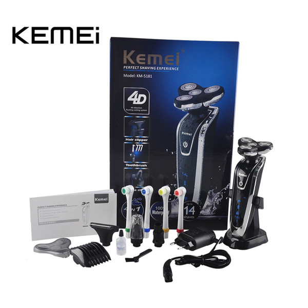 Kemei KM-5181 Rechargeable Men's Electric Shaver 4 In 1 Shaving Machine Set Hair Nose Trimmer Toothbrush for Men Face Care Tools