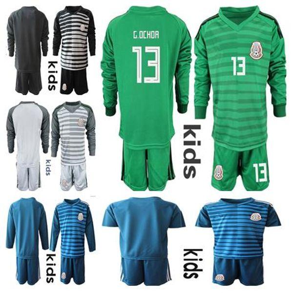 Soccer Jersey Kids Mexico Goalkeeper Set #13 G.OCHOA #1 CORONA Camisetas de futbol Youth MEXICO Goalkeeper Football Goalie kit