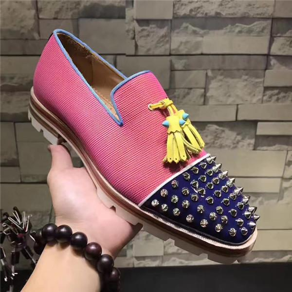 New Luxury Men Blue Patchwork Tassel Shoes Spikes Studded Lowtop Slip on Mixed Color Loafers Anti-skid Men Casual Shoes Size 38-47