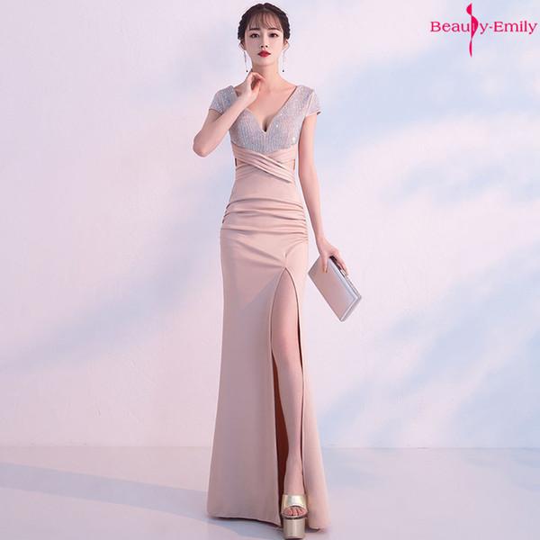 Bellezza Emily 2019 Lungo Scollo AV Abito Da Sera Senza Maniche Look Slim Sexy Mermaid Party Dress Alta Split Prom Gown abiti da festa