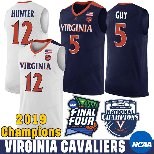 Maillots Kyle Guy NCAA Virginia Cavaliers 5 12 De'Andre Hunter Ty Jerome Mamadi Diakite 2019 Champions Maillots de Basketball